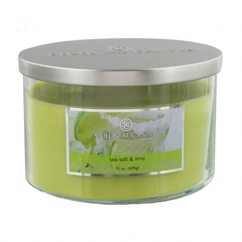 Green Scented Candle Sea Salt & Lime Colonial Candle